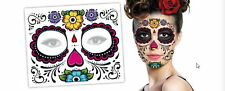 2 Day of The Dead Floral Dia De Los Muertos Halloween Zombie Face Tattoos Gift
