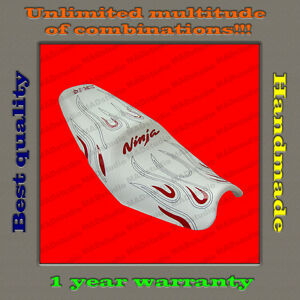 CUSTOM-Seat-Cover-KAWASAKI-NINJA-ZX-14-ZZR1400-06-11-fire-white-red-gloss-black