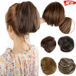 NEW-Bun-up-Do-Short-Synthetic-Straight-Ponytail-Elastic-Drawstring-Clip-in-Hair