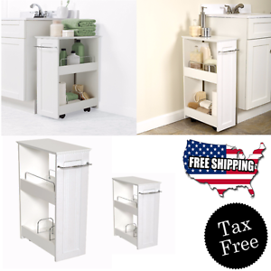 Image is loading Narrow-Wood-Floor-Rolling-Bathroom-Toilet-Storage-Cabinet-  sc 1 st  eBay & Narrow Wood Floor Rolling Bathroom Toilet Storage Cabinet Holder ...