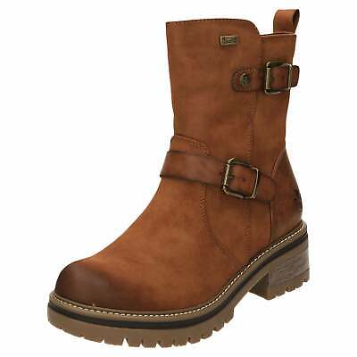 Rieker Tex Chunky Ankle Boots Warm Lined 96274 24 Shower Proof Cosy Nubuck Brown