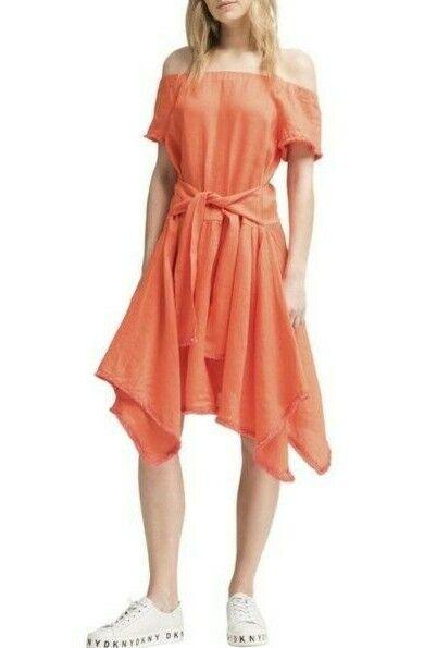 NWT DKNY Woherren Orange Asymmetrical Tie-Waist Casual Dress Größe Small