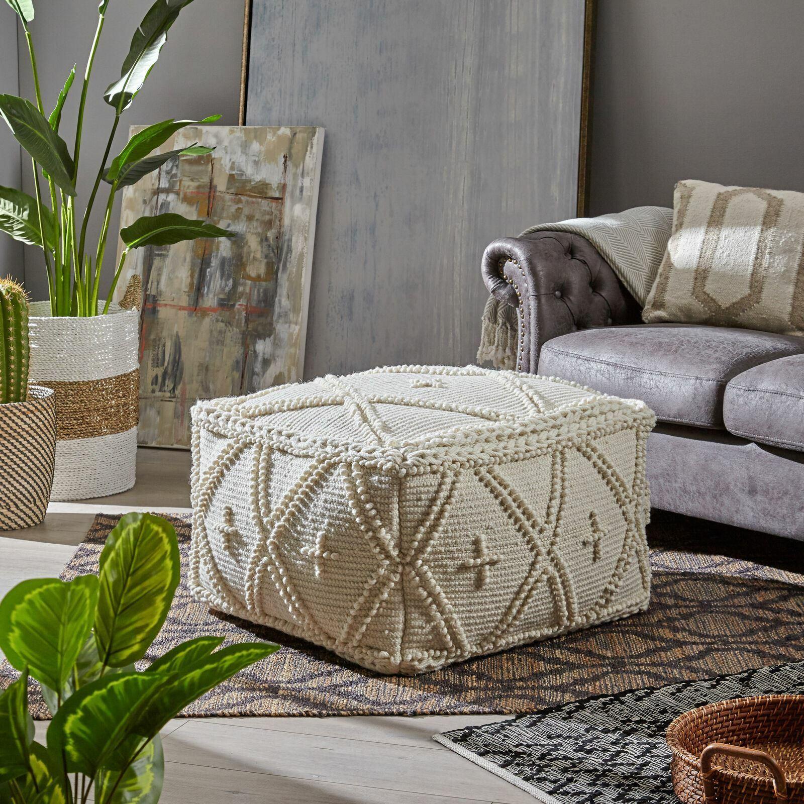 Nina Large Square Casual Pouf, Boho, White Wool and Cotton