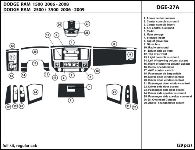 Dodge Ram  2006-2009 Real Carbon Fiber Dash Kit Trim  interior auto accessories