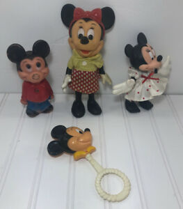 Vintage-Mickey-Minnie-Mouse-Toy-Baby-Rattle-Lot