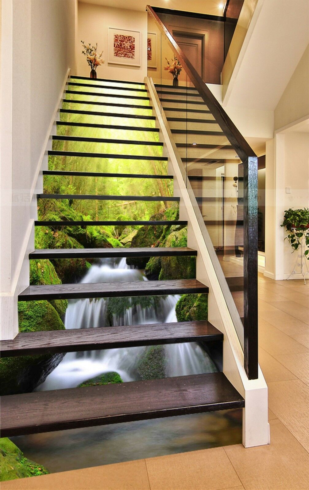 3D Forest stream 7 Stair Risers Decoration Photo Mural Vinyl Decal Wallpaper UK