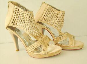 Ladies-Vintage-Bling-Heels-Shoes-Size-38-Stilletto-Clubbing-Party-Shoe-Zip-Back