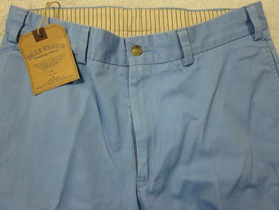 NWT Bills Khakis Light bluee Vintage Twill M3 Flat Front Standard Fit 32W