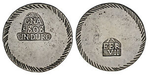 5-PESETAS-DURO-Ag-FERDINAND-VII-FERNANDO-VII-GERONA-1808-VF-MBC-ATRACTIVA