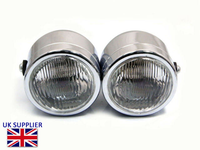 Motorcycle Headlight Dominator Tracker Streetfighter Chrome Dual Twin Halogen