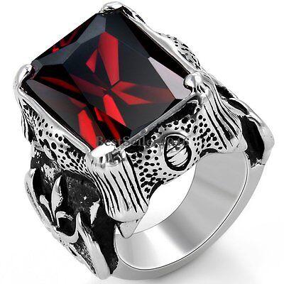 Red Princess CZ Black Silver Dragon Claw Mens Stainless Steel Fleur de Lis Ring