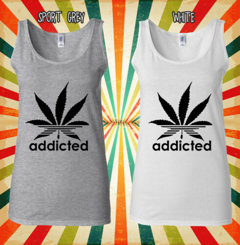 Addicted Cannabis Funky Cool Hipster Men Women Vest Tank Top Unisex T Shirt 459