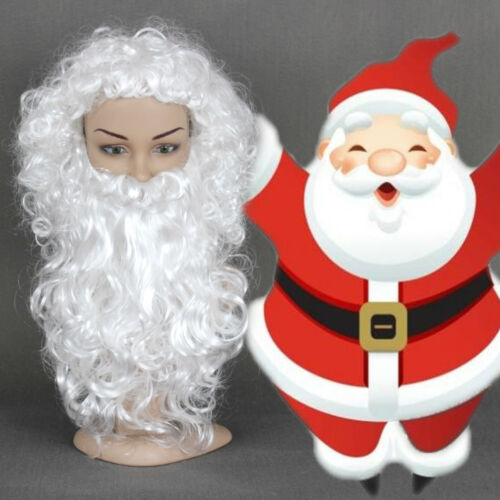 Wihte Christmas Cosplay Fancy Dress Synthetic Wig Santa Claus Hair and Beard Set