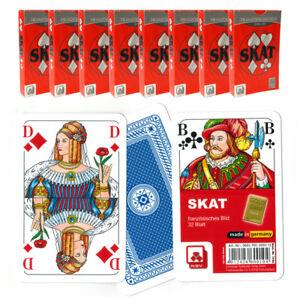 10x-Skatblatt-SKAT-32-Blatt-franzoesisches-Bild-in-Pappschachtel