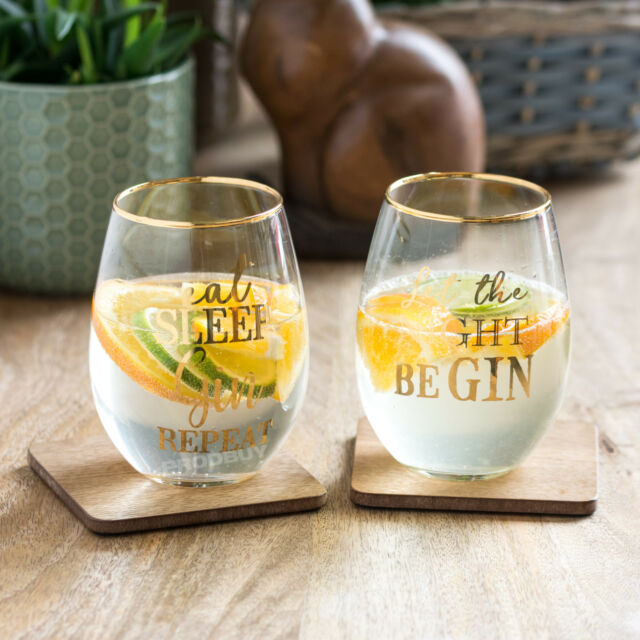 2f39a0d3061 Set of 2 Stemless Gin and Tonic Balloon Glasses Novelty Funny Gift Wine  Tumblers