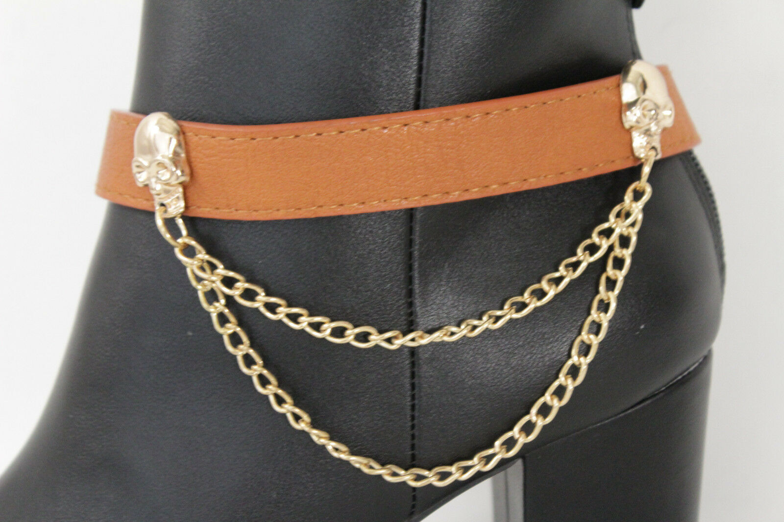 Women Western Boot Bracelet Gold Metal Chain Anklet Shoe Skeleton Skull Charms