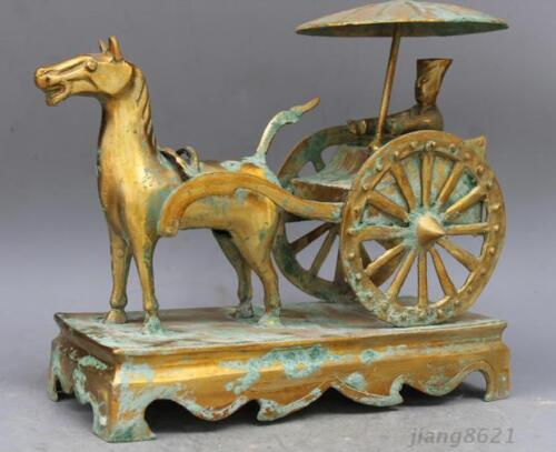 """13/"""" China antique The warring states brass carts statue"""
