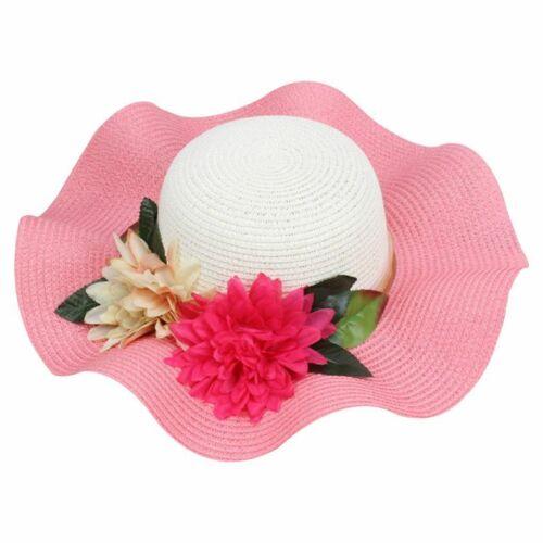 Women Summer Straw Weave Sun Visor Wavy Wide Brim Bucket Hat Flowers Ribbon HOT