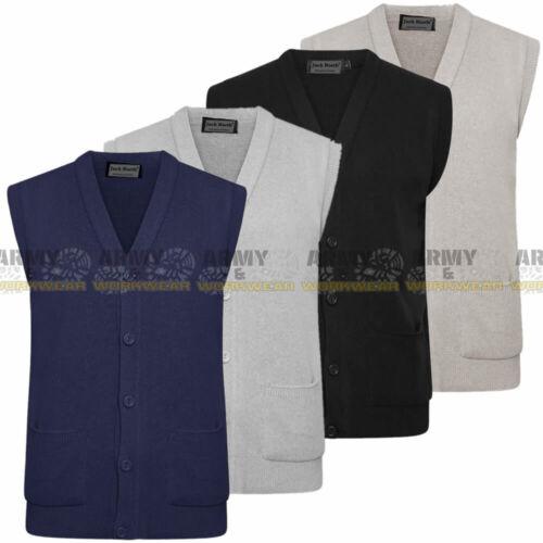 Men Knitted Sleeveless Buttons Cardigan Sweater Vest Waistcoat Top Smart Jumper