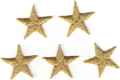 """Stars,Gold  Metallic 7/8"""" Star (Set of 5)-Iron On Embroidered Applique/Astrology"""