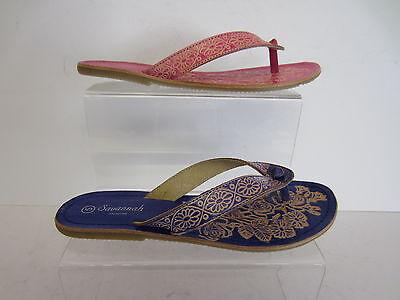 Damas Savannah del Dedo del Pie-Post Sandalias Estilo: F0373 Azul O Rosado Reino Unido 3 X 8 (R22E)