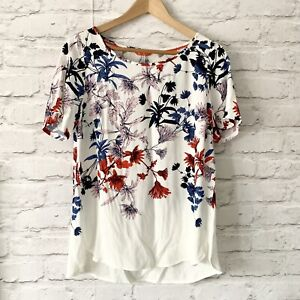 JOULES-HANNAH-Top-Size-8-WHITE-Smart-CASUAL-Work-Office-Blouse-Floral-NEW