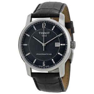 Tissot-Classic-Titanium-Powermatic-80-Black-Dial-Men-039-s-Watch-T0874074605700