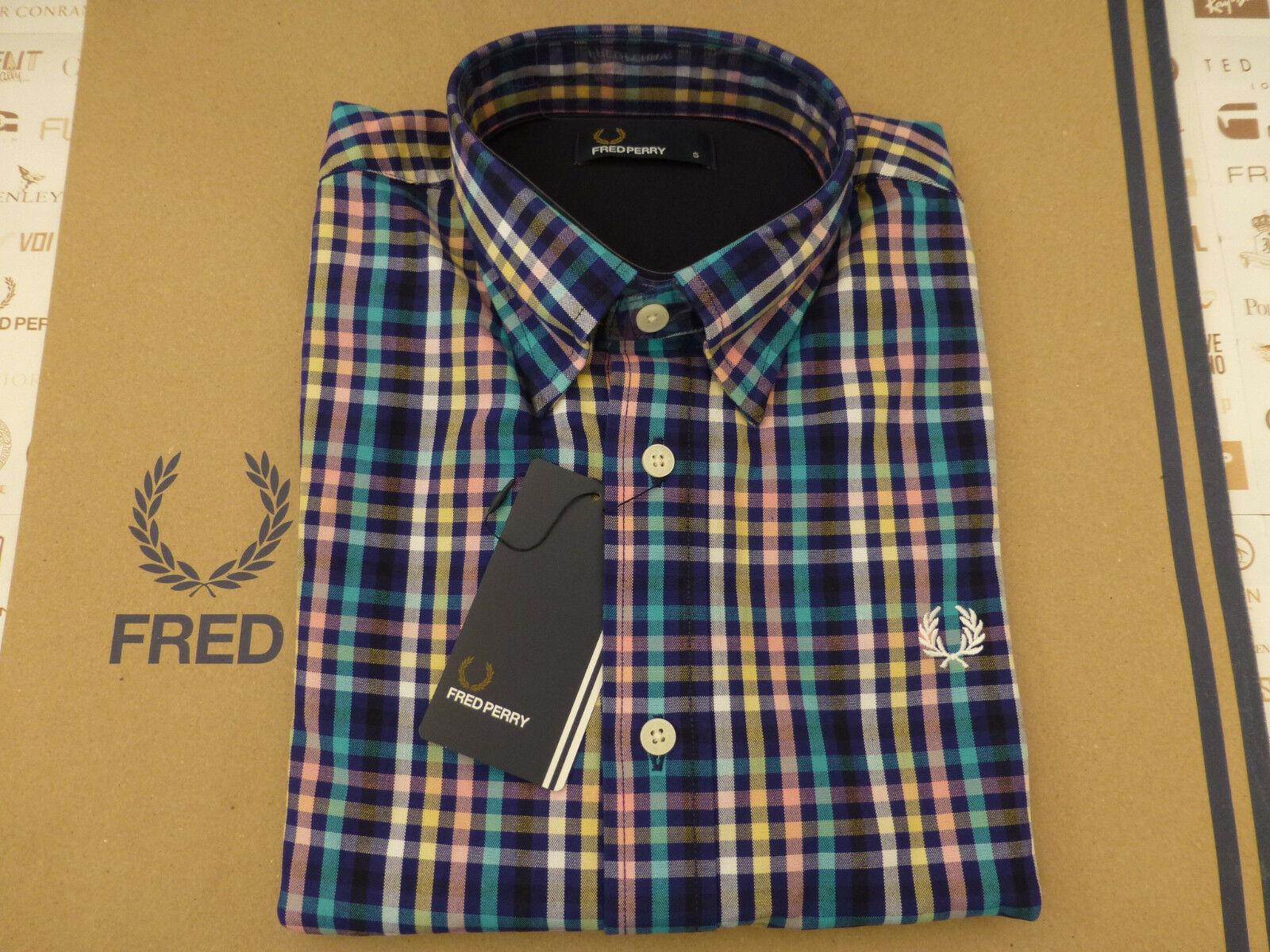 FRED PERRY Long Sleeve Shirt Men's BOLD GINGHAM Imperial Size S Top BNWT RRP