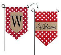 Polka-dot Welcome Monogram Garden Flag Letter: W, New, Free Shipping on sale