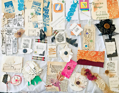 Buttons Collage Sheets #4 Trims Ephemera PlayTime Junk Journal Kit 50 pieces Fabric