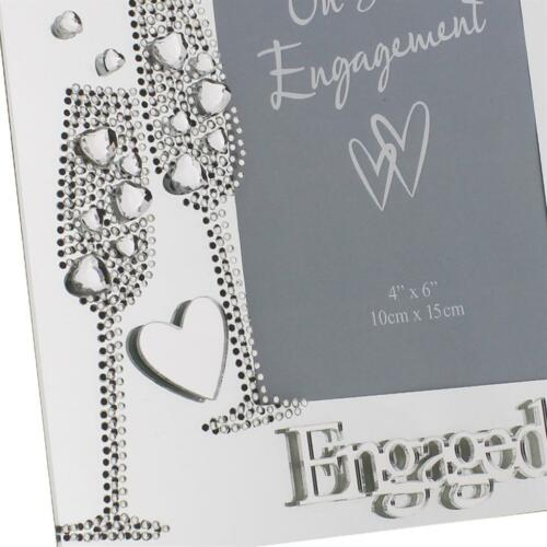 Glass Photo Frame with Gem Champagne Flutes /& Mirror Letters Engaged