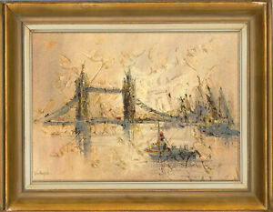 John-Bampfield-b-1947-Signed-and-Framed-20th-Century-Oil-Tower-Bridge
