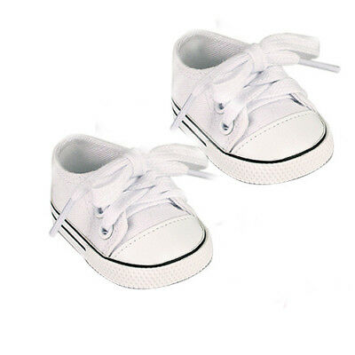 White Canvas Slip On Sneakers Fits 18 inch American Girl Dolls