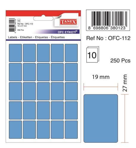 250 Etiketten 19 x 27 mm blau TANEX OFC-112 Vielzweck Etiketten farbig