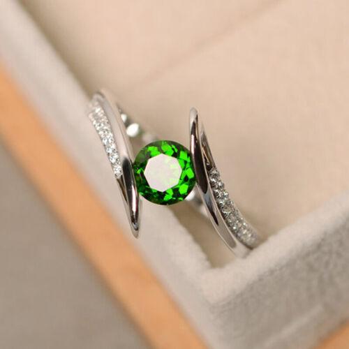 1pcs Dames Tendance anneaux bijoux argent synthétique Emeraude Saphir Mariage Cadeaux Jian