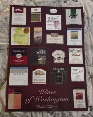 />orig 1994 Wines of Washington ~LABELS POSTER~ 26 x 19 Attractive /& Colorful!!