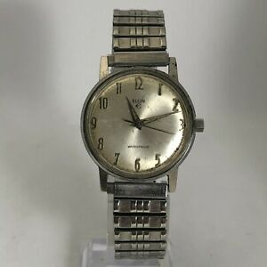 Read-Vintage-Elgin-Mens-Silver-Tone-Stainless-Steel-Wind-Up-Bracelet-Watch