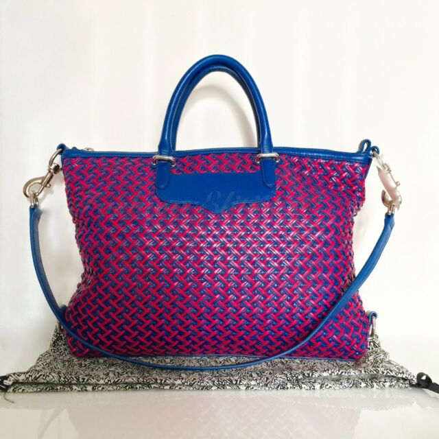 Rebecca Minkoff Bonnie Satchel  poppy Pink  Leather Woven Blue Very ... 8eb1f99665c7b