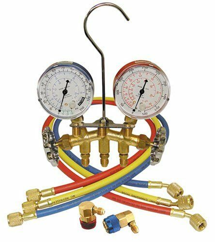 Mountain MTN8205 R134a Brass Manifold Gauge Set With Couplers
