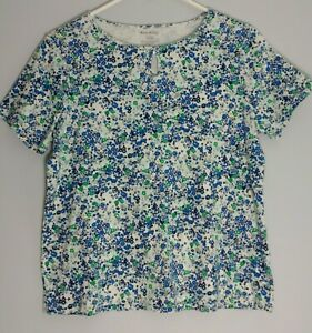 White-Stag-Womens-Size-XL-16-18-Pullover-Top-Short-Sleeve-Floral