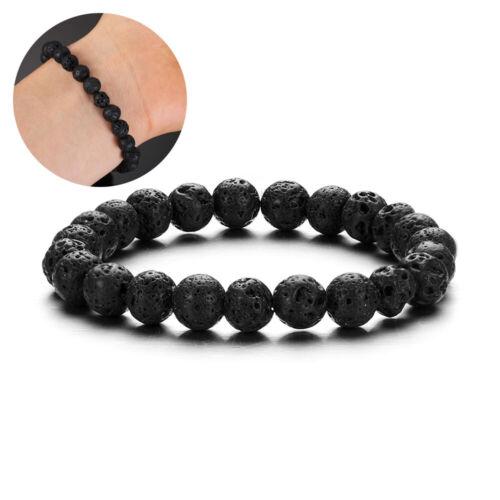 Men Women Natural Stone Bead Bracelet Turquoise Round Gemstone Bangle Jewelry
