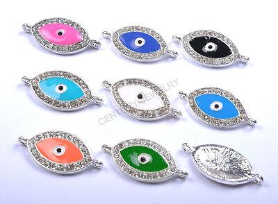 5/10/ Fashion Evil Eye Glass Crystal Rhinestone Charms Connector For Bracelets