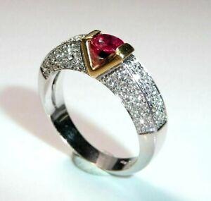 Anneau 750/18k or Blanc - 1.00 Carats Diamants 0.40 CT Rubis 0,4 Gr. 56 / 17,8