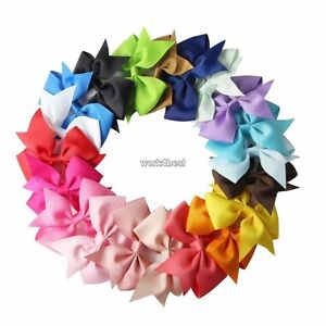 20PCS-Handmade-Bow-Hair-Clip-Alligator-Clips-Girls-Ribbon-Kids-Sides-Boutique