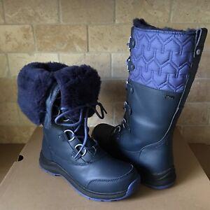 b8f6bdceedb Details about UGG Atlason Navy Waterproof Leather Cuff Tall Rain Snow Boots  Size 8 Womens