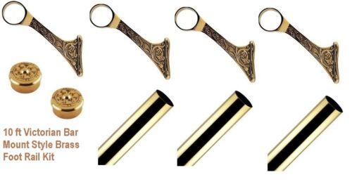 2 Ornate Caps 10 ft Victorian Brass Bar Mount  Foot Rail Kit  3Ornate Brackets