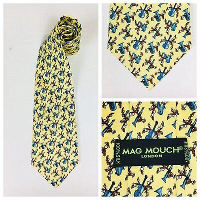 Mag Mouch Necktie Tie 100/% Silk Yellow Musical Instruments Trumpet Saxophone S17