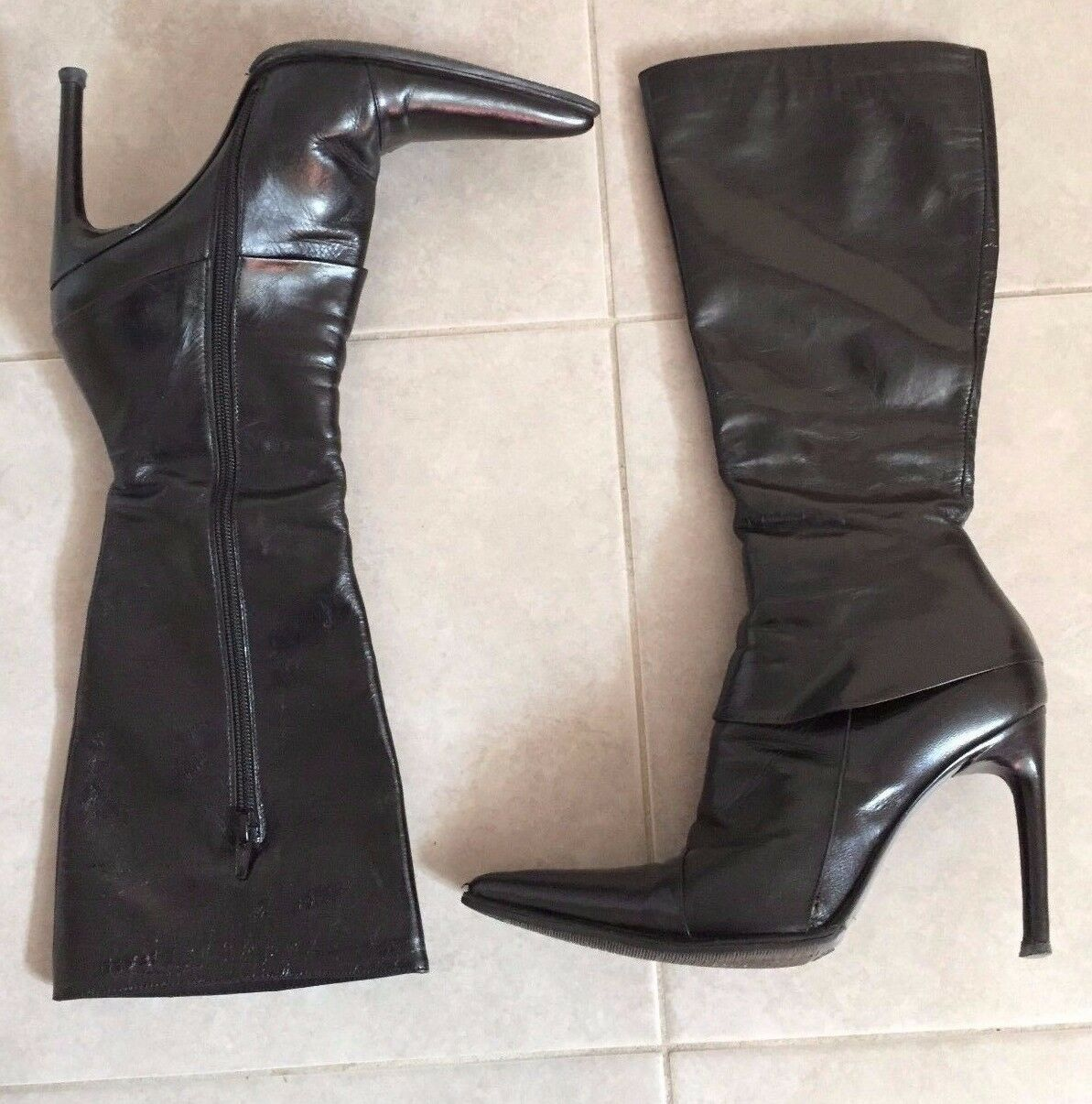 Chuckies Brand  Women's Black Pointy Stiletto Leather Boots Size 7