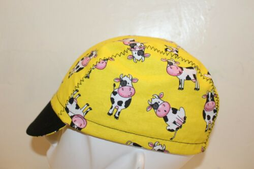 CYCLING CAP A BEAUTIFUL LITTLE COW  100/% COTTON HANDMADE IN USA S//M//L