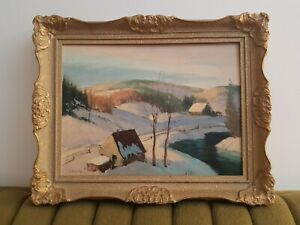 Original-Sydney-Berne-Oil-painting-Signed-Vintage-Collectable-Canadian-Rare